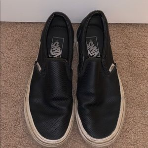 BLACK LEATHER PERFORATED VANS WOMENS SIZE 8